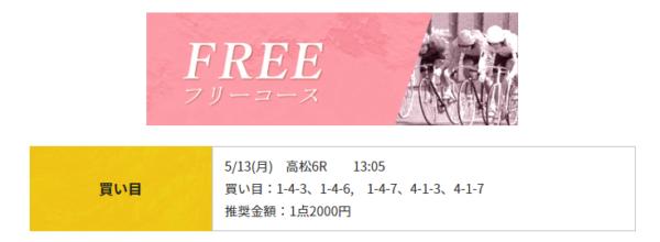 競輪RIDEの5月13日の無料予想